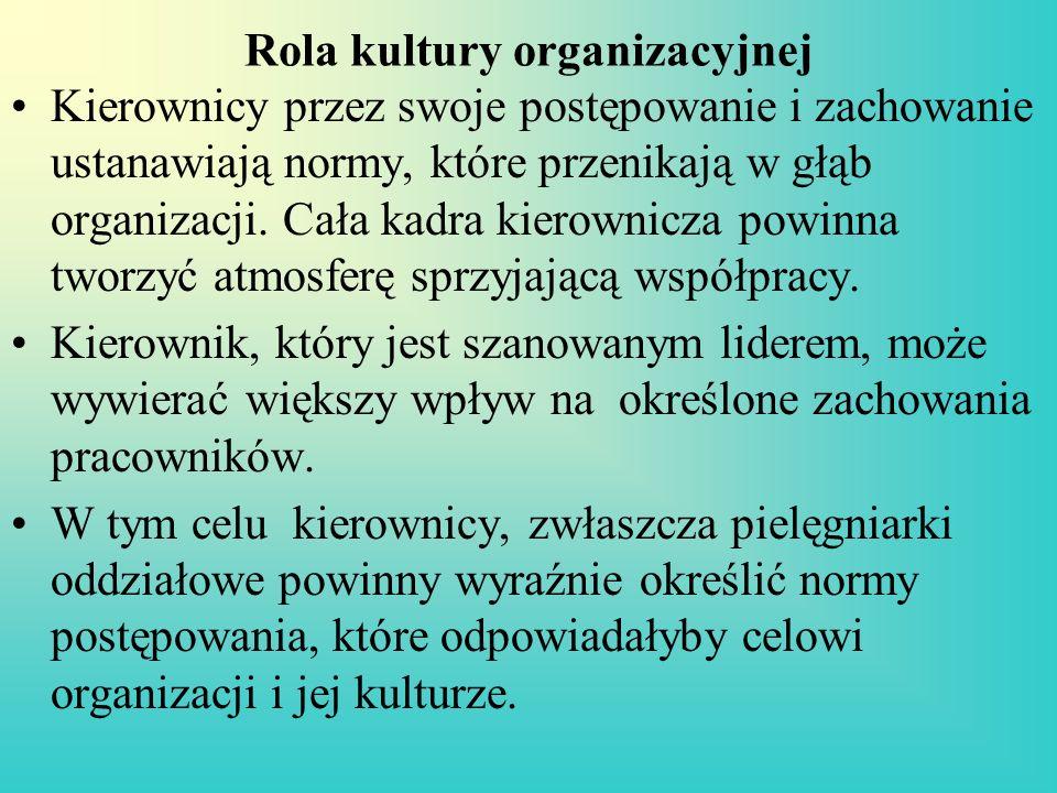 Rola kultury organizacyjnej Kierownicy przez swoje postępowanie i zachowanie ustanawiają normy, które przenikają w głąb organizacji. Cała kadra kierow
