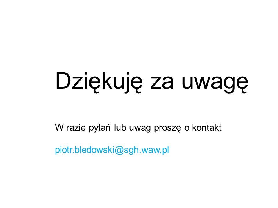 Dziękuję za uwagę W razie pytań lub uwag proszę o kontakt piotr.bledowski@sgh.waw.pl