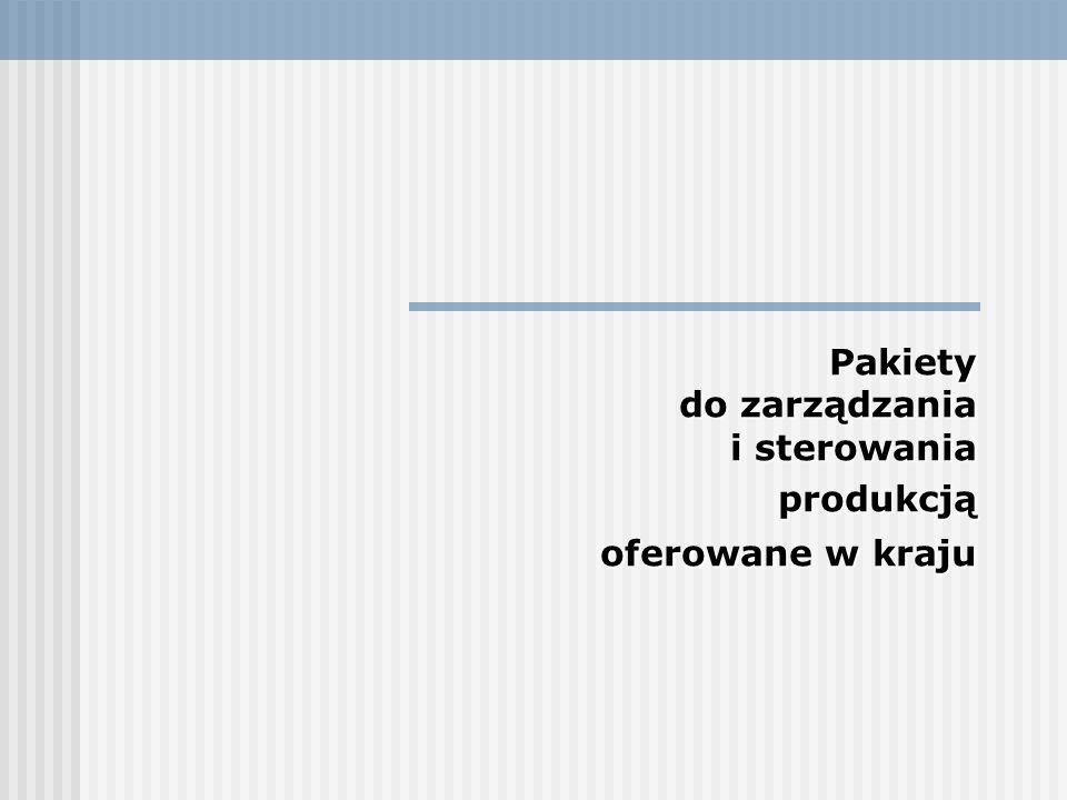 Pakiety do zarządzania i sterowania produkcją oferowane w kraju produkcją oferowane w kraju