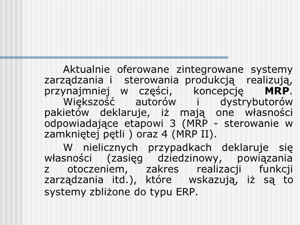 Aktualnie oferowane zintegrowane systemy zarządzania i sterowania produkcją realizują, przynajmniej w części, koncepcję MRP. Większość autorów i dystr