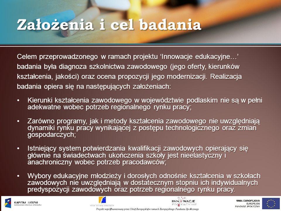Celem przeprowadzonego w ramach projektu Innowacje edukacyjne… badania była diagnoza szkolnictwa zawodowego (jego oferty, kierunków kształcenia, jakoś
