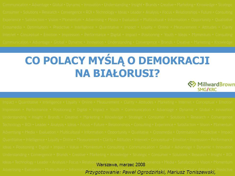 Opinie Polaków odnośnie tego, czy Białoruś jest państwem w pełni niepodległym, czy też posiadającym własny rząd i prezydenta, ale całkowicie zależnym od Rosji rozkładają się w miarę równomiernie – 32% zgadza się z pierwszą opinią (przy czym w porównaniu do deklaracji z roku 2006 obserwujemy znaczący wzrost takich opinii), 35% potwierdza drugą (spadek o 4 punkty procentowe w porównaniu do roku 2007).
