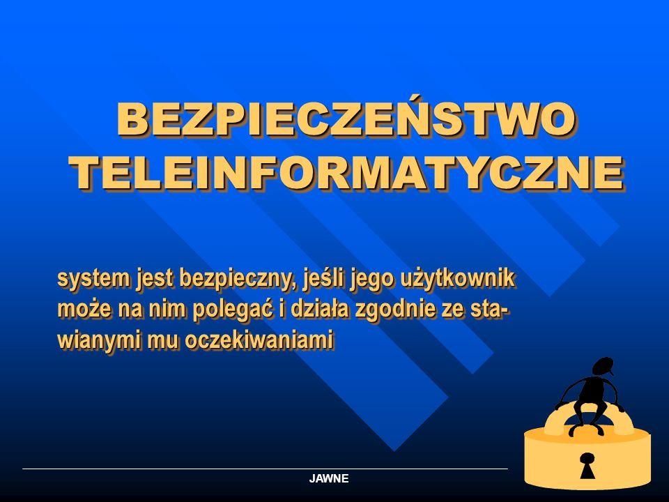 1 BEZPIECZEŃSTWO TELEINFORMATYCZNE system jest bezpieczny, jeśli jego użytkownik może na nim polegać i działa zgodnie ze sta- wianymi mu oczekiwaniami