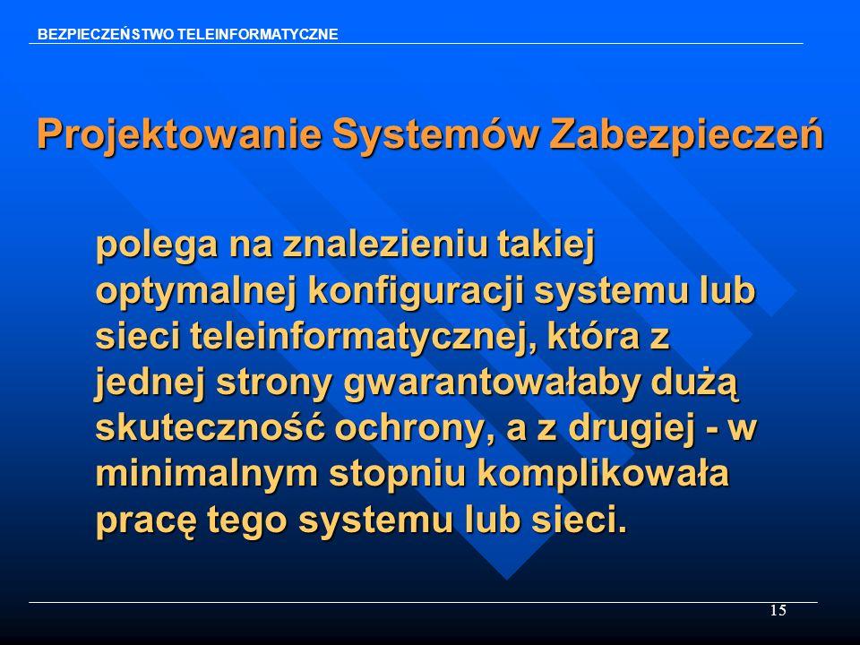 15 Projektowanie Systemów Zabezpieczeń polega na znalezieniu takiej optymalnej konfiguracji systemu lub sieci teleinformatycznej, która z jednej stron