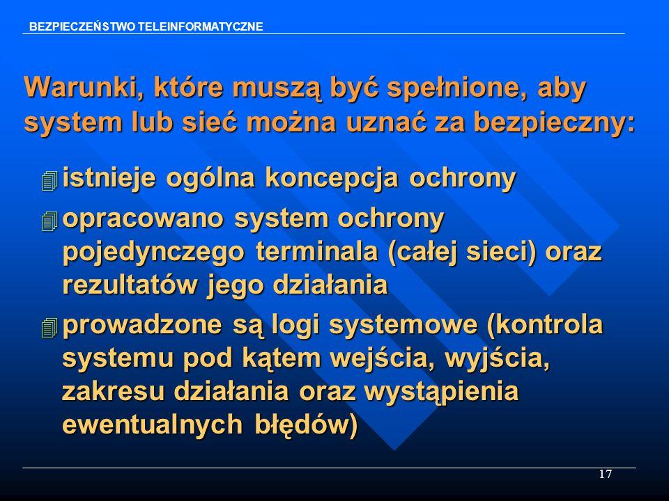 17 Warunki, które muszą być spełnione, aby system lub sieć można uznać za bezpieczny: 4 istnieje ogólna koncepcja ochrony 4 opracowano system ochrony
