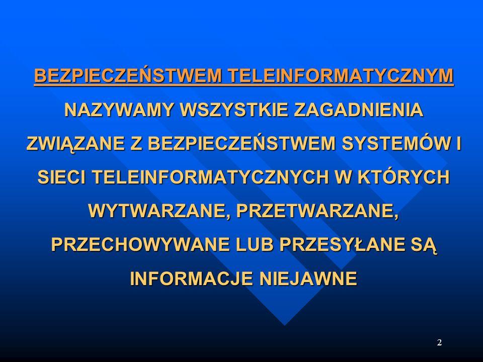 2 BEZPIECZEŃSTWEM TELEINFORMATYCZNYM NAZYWAMY WSZYSTKIE ZAGADNIENIA ZWIĄZANE Z BEZPIECZEŃSTWEM SYSTEMÓW I SIECI TELEINFORMATYCZNYCH W KTÓRYCH WYTWARZA