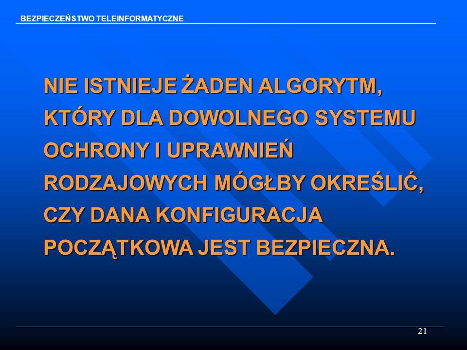 21 BEZPIECZEŃSTWO TELEINFORMATYCZNE NIE ISTNIEJE ŻADEN ALGORYTM, KTÓRY DLA DOWOLNEGO SYSTEMU OCHRONY I UPRAWNIEŃ RODZAJOWYCH MÓGŁBY OKREŚLIĆ, CZY DANA