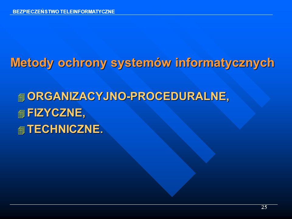 25 Metody ochrony systemów informatycznych 4 ORGANIZACYJNO-PROCEDURALNE, 4 FIZYCZNE, 4 TECHNICZNE. BEZPIECZEŃSTWO TELEINFORMATYCZNE