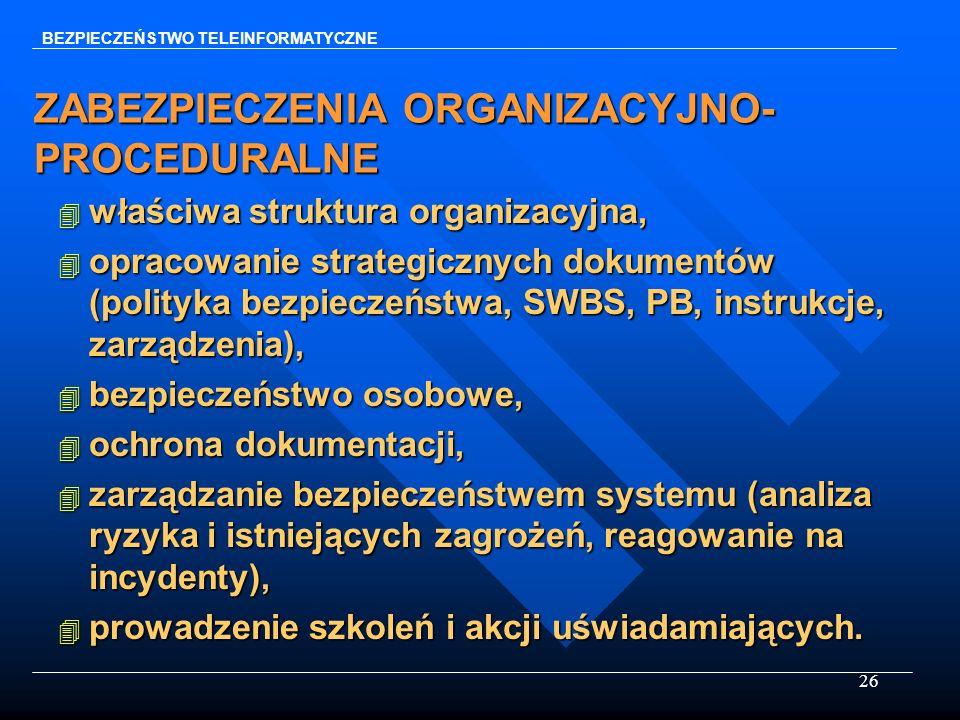 26 ZABEZPIECZENIA ORGANIZACYJNO- PROCEDURALNE 4 właściwa struktura organizacyjna, 4 opracowanie strategicznych dokumentów (polityka bezpieczeństwa, SW