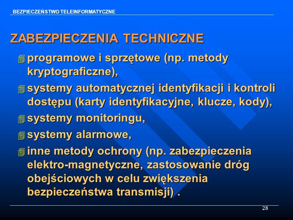 28 ZABEZPIECZENIA TECHNICZNE 4 programowe i sprzętowe (np. metody kryptograficzne), 4 systemy automatycznej identyfikacji i kontroli dostępu (karty id