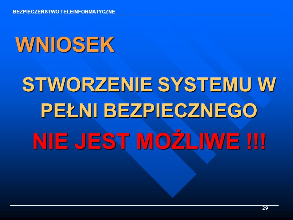 29 WNIOSEK STWORZENIE SYSTEMU W PEŁNI BEZPIECZNEGO NIE JEST MOŻLIWE !!! BEZPIECZEŃSTWO TELEINFORMATYCZNE