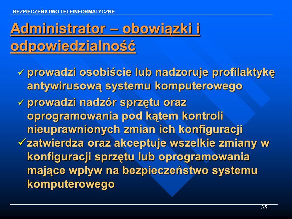 35 Administrator – obowiązki i odpowiedzialność prowadzi osobiście lub nadzoruje profilaktykę antywirusową systemu komputerowego prowadzi osobiście lu