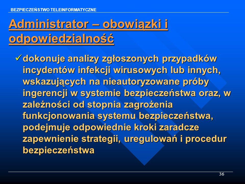 36 Administrator – obowiązki i odpowiedzialność dokonuje analizy zgłoszonych przypadków incydentów infekcji wirusowych lub innych, wskazujących na nie