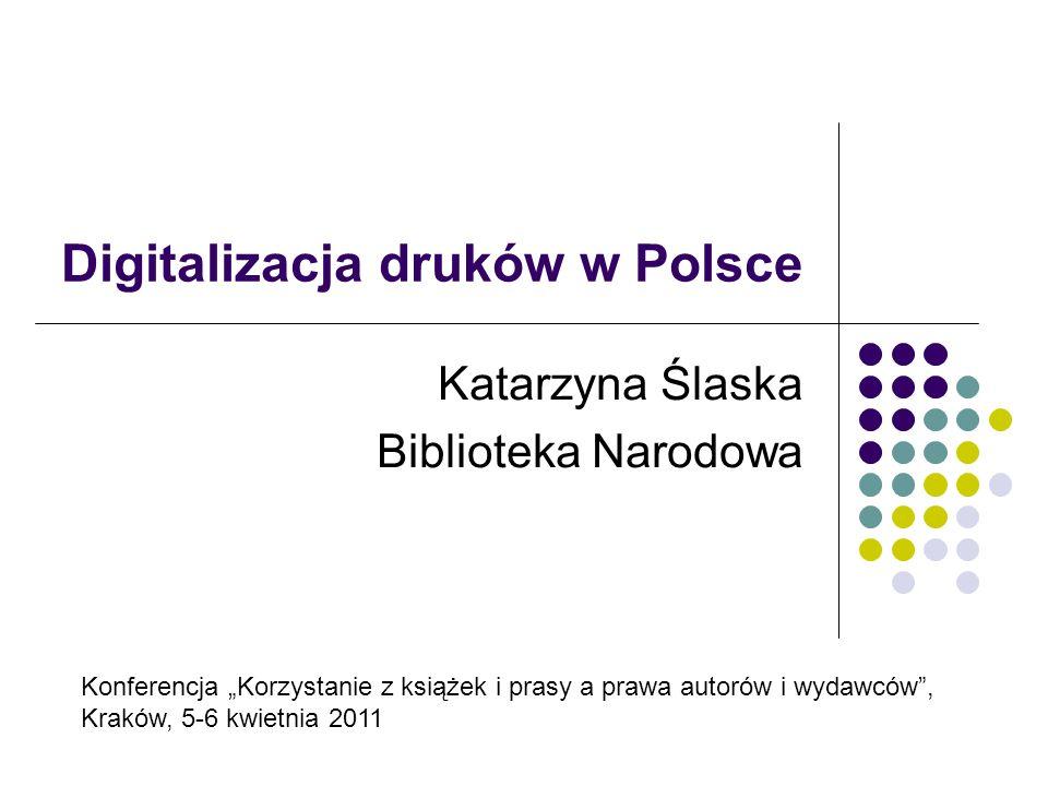 Digitalizacja zbiorów bibliotecznych w Polsce Zbiory biblioteczne są w znacznym procencie wieloegzemplarzowe, co oznacza, że egzemplarze z tych samych wydań są przechowywane w wielu bibliotekach Szacunkowo oblicza się, że digitalizacji powinno podlegać 9- 10 mln jednostek bibliotecznych W latach 2002-2010 w polskich bibliotekach zdigitalizowano ponad 600 tys.