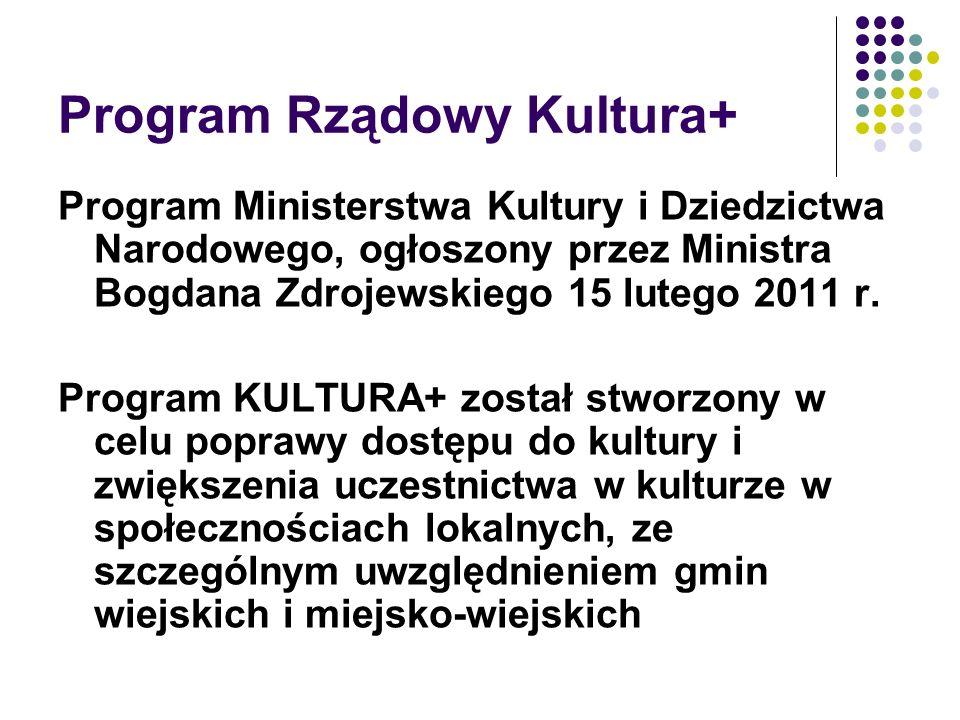 Program Rządowy Kultura+ Program Ministerstwa Kultury i Dziedzictwa Narodowego, ogłoszony przez Ministra Bogdana Zdrojewskiego 15 lutego 2011 r. Progr