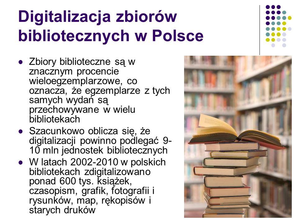 Digitalizacja zbiorów bibliotecznych w Polsce Zbiory biblioteczne są w znacznym procencie wieloegzemplarzowe, co oznacza, że egzemplarze z tych samych