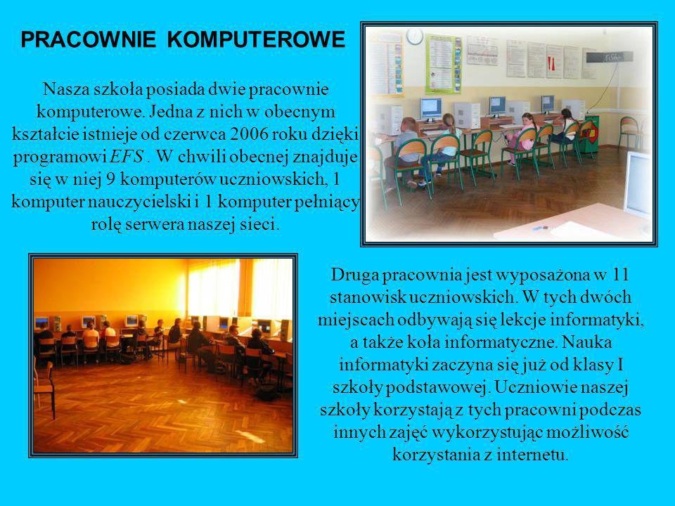 PRACOWNIE KOMPUTEROWE Nasza szkoła posiada dwie pracownie komputerowe. Jedna z nich w obecnym kształcie istnieje od czerwca 2006 roku dzięki programow