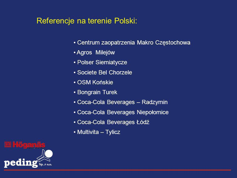 Referencje na terenie Polski: Centrum zaopatrzenia Makro Częstochowa Agros Milejów Polser Siemiatycze Societe Bel Chorzele OSM Końskie Bongrain Turek
