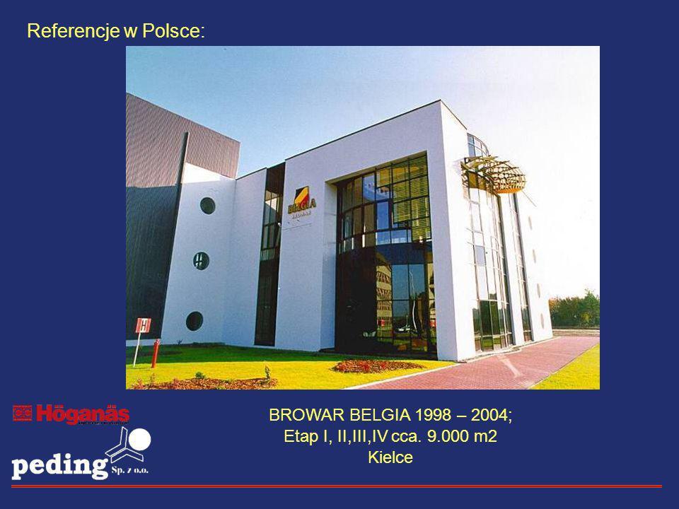 Referencje w Polsce: BROWAR BELGIA 1998 – 2004; Etap I, II,III,IV cca. 9.000 m2 Kielce