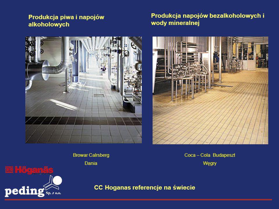 CC Hoganas referencje na świecie Browar Calrsberg Dania Produkcja napojów bezalkoholowych i wody mineralnej Coca – Cola Budapeszt Węgry Produkcja piwa