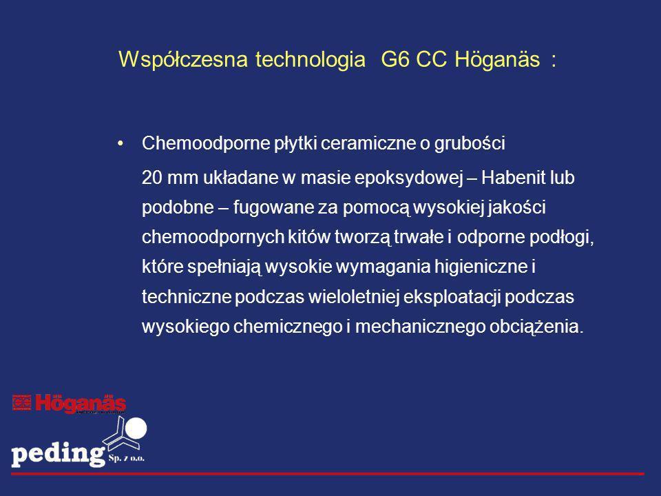 Współczesna technologia G6 CC Höganäs : Chemoodporne płytki ceramiczne o grubości 20 mm układane w masie epoksydowej – Habenit lub podobne – fugowane