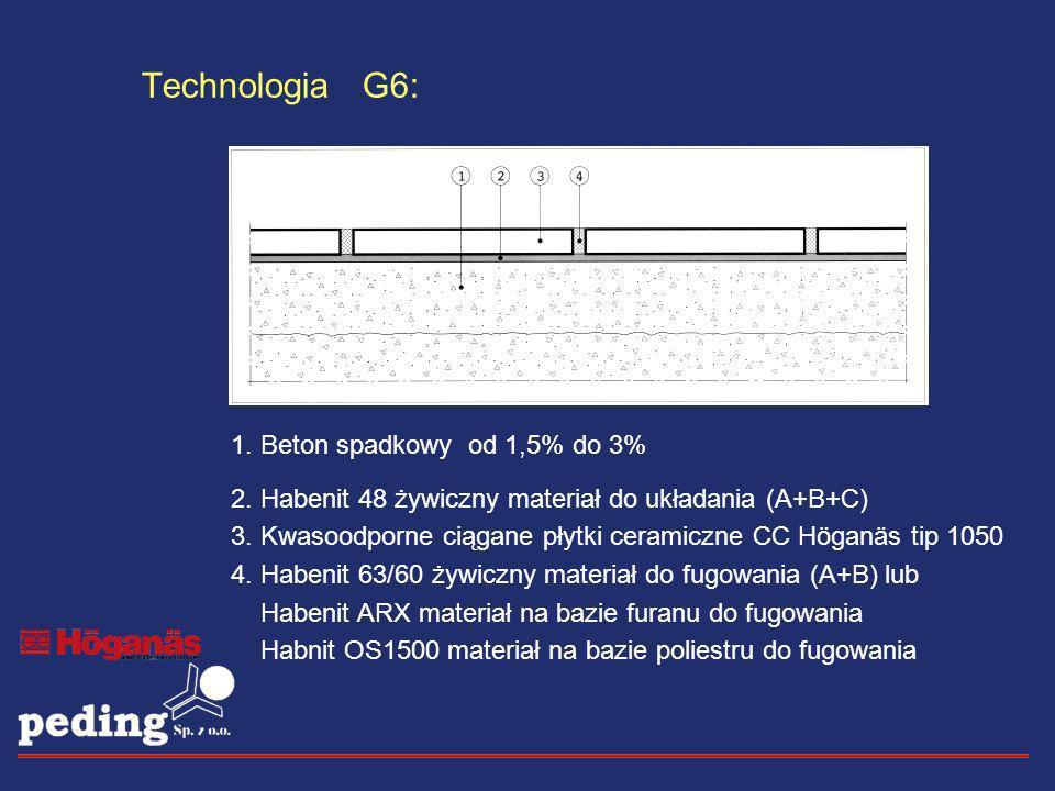 Technologia G6: 1. Beton spadkowy od 1,5% do 3% 2. Habenit 48 żywiczny materiał do układania (A+B+C) 3. Kwasoodporne ciągane płytki ceramiczne CC Höga