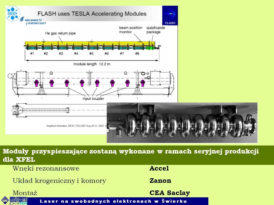 Wnęki rezonansowe Accel Układ krogeniczny i komory Zanon Montaż CEA Saclay Moduły przyspieszające zostaną wykonane w ramach seryjnej produkcji dla XFE