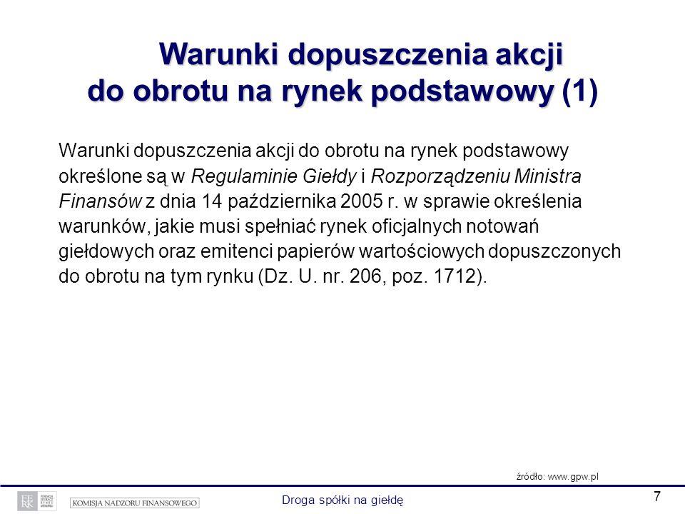 7 Droga spółki na giełdę Warunki dopuszczenia akcji do obrotu na rynek podstawowy Warunki dopuszczenia akcji do obrotu na rynek podstawowy (1) Warunki dopuszczenia akcji do obrotu na rynek podstawowy określone są w Regulaminie Giełdy i Rozporządzeniu Ministra Finansów z dnia 14 października 2005 r.