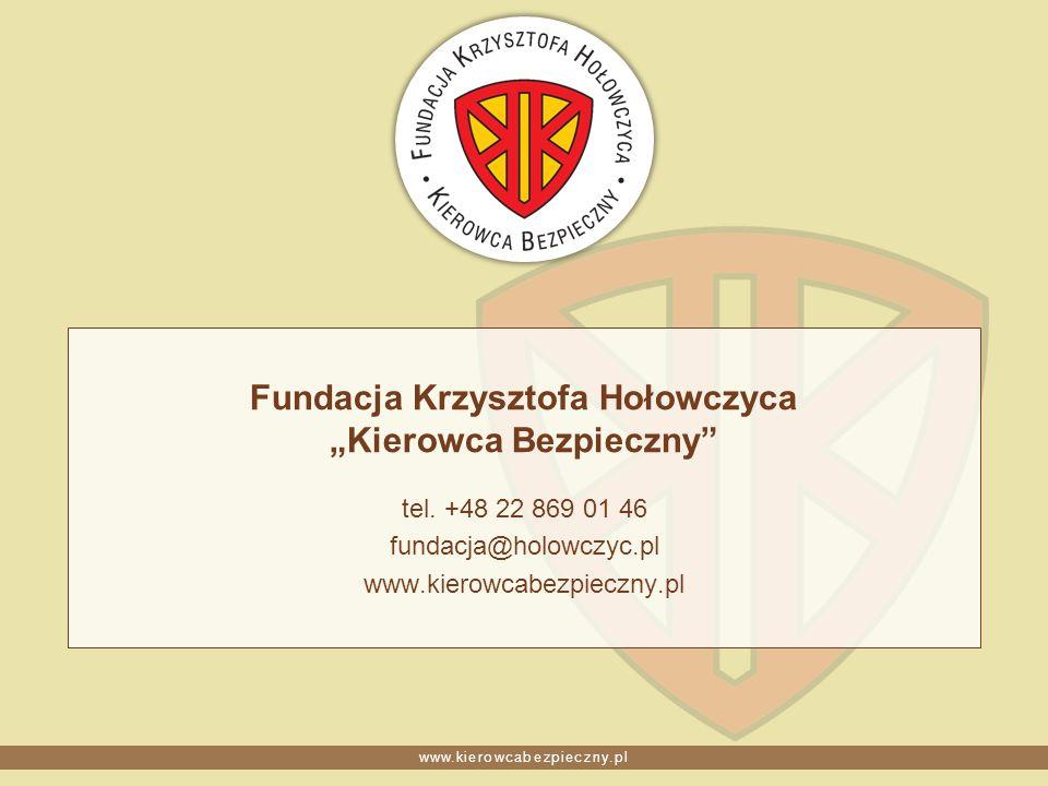 www.kierowcabezpieczny.pl Fundacja Krzysztofa Hołowczyca Kierowca Bezpieczny tel. +48 22 869 01 46 fundacja@holowczyc.pl www.kierowcabezpieczny.pl