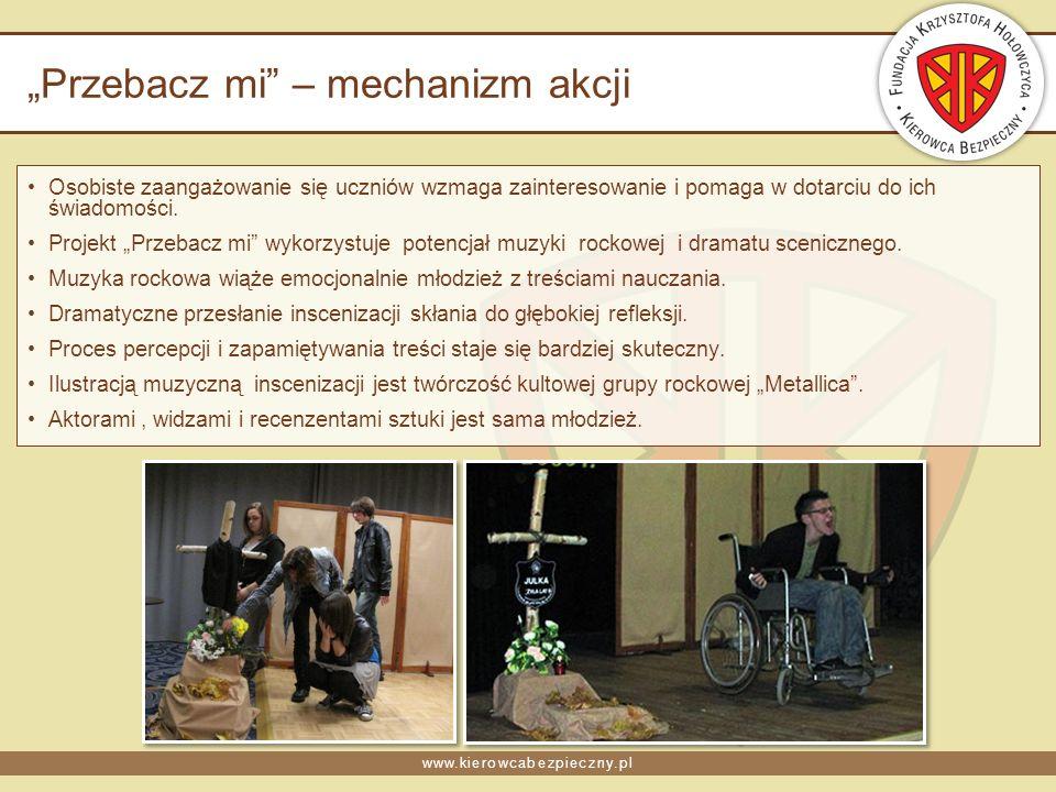 www.kierowcabezpieczny.pl Przebacz mi – inscenizacja Wstrząsająca sztuka zwracająca uwagę na tragizm wypadków drogowych, powodowanych przez pijanych kierowców.