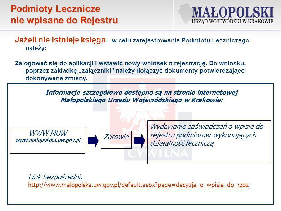 Po wprowadzeniu wszystkich danych do wniosku, dołączeniu załączników zgodnie z opisem znajdującym się na stronie internetowej http://www.malopolska.uw.gov.pl/default.aspx?page=decyzja_o_wpisie_do_rzoz i jego weryfikacji klikamy na przycisk Zakończ i zweryfikuj wniosek znajdujący się na każdej stronie wniosku.