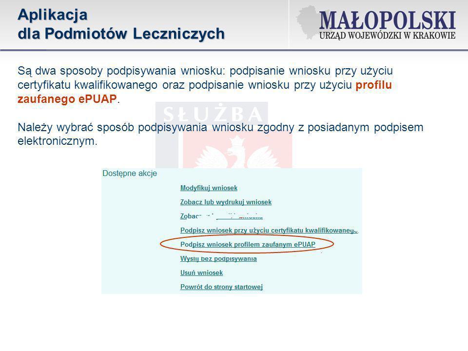W przypadku wybrania profilu zaufanego ePUAP zostaniemy przekierowani na platformę ePUAP (strona logowania do konta), gdzie dokonujemy podpisu.Aplikacja dla Podmiotów Leczniczych