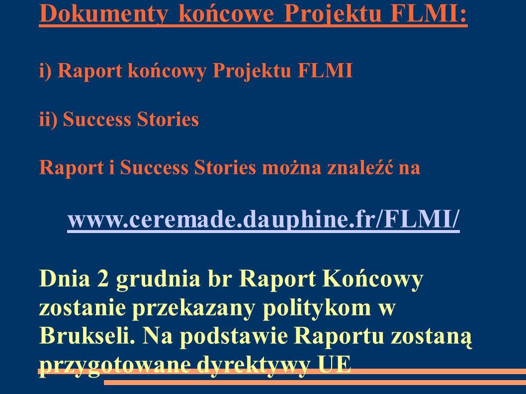 Dokumenty końcowe Projektu FLMI: i) Raport końcowy Projektu FLMI ii) Success Stories Raport i Success Stories można znaleźć na www.ceremade.dauphine.f