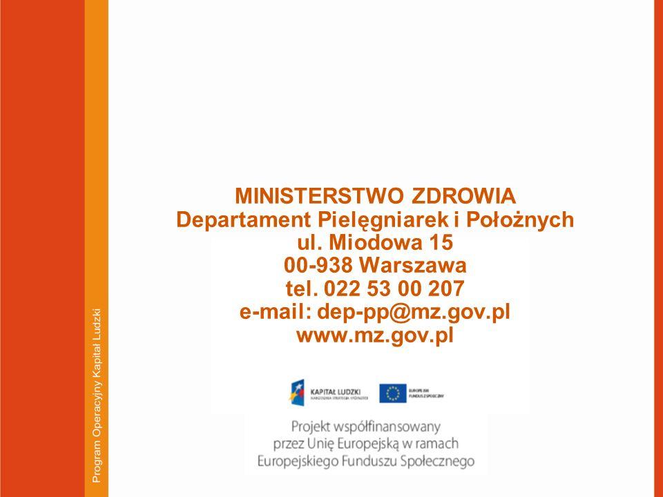 MINISTERSTWO ZDROWIA Departament Pielęgniarek i Położnych ul. Miodowa 15 00-938 Warszawa tel. 022 53 00 207 e-mail: dep-pp@mz.gov.pl www.mz.gov.pl