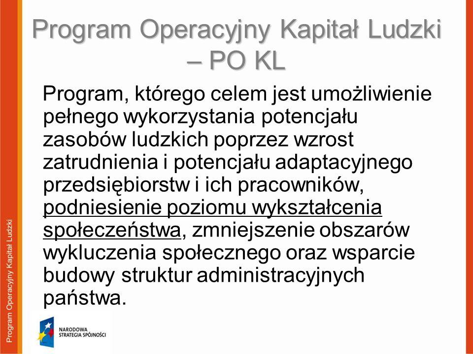 Program Operacyjny Kapitał Ludzki – PO KL Program, którego celem jest umożliwienie pełnego wykorzystania potencjału zasobów ludzkich poprzez wzrost za