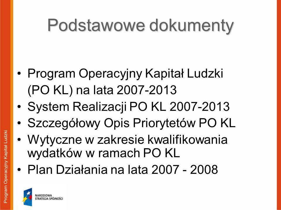 Podstawowe dokumenty Program Operacyjny Kapitał Ludzki (PO KL) na lata 2007-2013 System Realizacji PO KL 2007-2013 Szczegółowy Opis Priorytetów PO KL