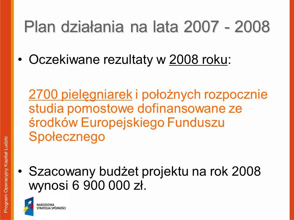 Plan działania na lata 2007 - 2008 Oczekiwane rezultaty w 2008 roku: 2700 pielęgniarek i położnych rozpocznie studia pomostowe dofinansowane ze środkó
