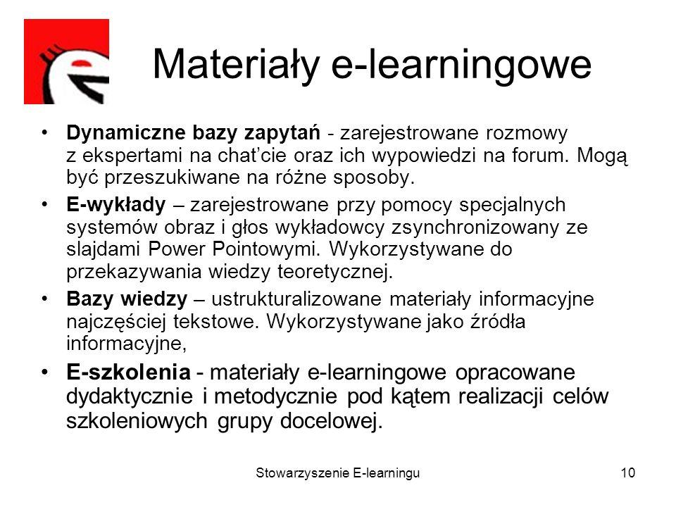Stowarzyszenie E-learningu10 Materiały e-learningowe Dynamiczne bazy zapytań - zarejestrowane rozmowy z ekspertami na chatcie oraz ich wypowiedzi na f