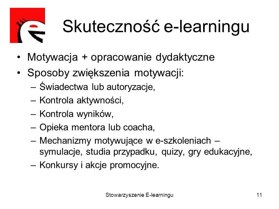 Stowarzyszenie E-learningu11 Skuteczność e-learningu Motywacja + opracowanie dydaktyczne Sposoby zwiększenia motywacji: –Świadectwa lub autoryzacje, –