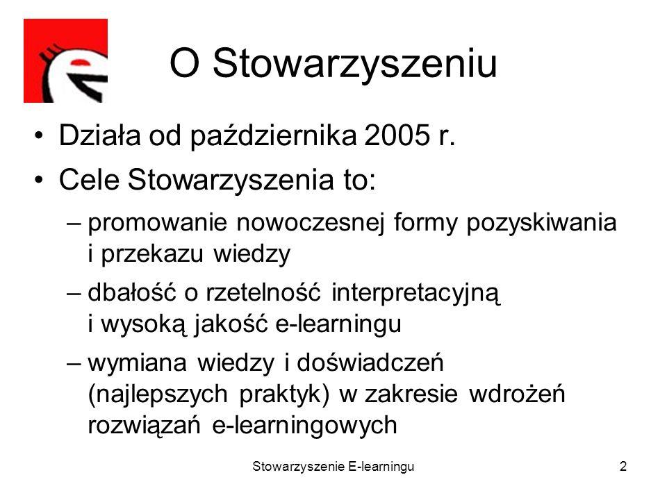 Stowarzyszenie E-learningu2 O Stowarzyszeniu Działa od października 2005 r. Cele Stowarzyszenia to: –promowanie nowoczesnej formy pozyskiwania i przek