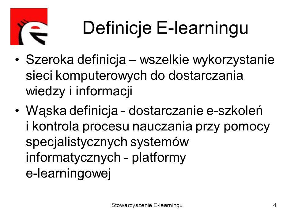 Stowarzyszenie E-learningu5 Platformy e-learning Podstawowa funkcjonalność platformy: –Dostarczanie e-szkoleń, –Kontrola procesu nauczania Rozbudowana funkcjonalność platformy: –Narzędzie autorskie, –Lista dyskusyjna, –Chat, –Baza wiedzy –Zarządzanie szkoleniami tradycyjnymi, –Zarządzanie kompetencjami, Przykładowe platformy e-learning