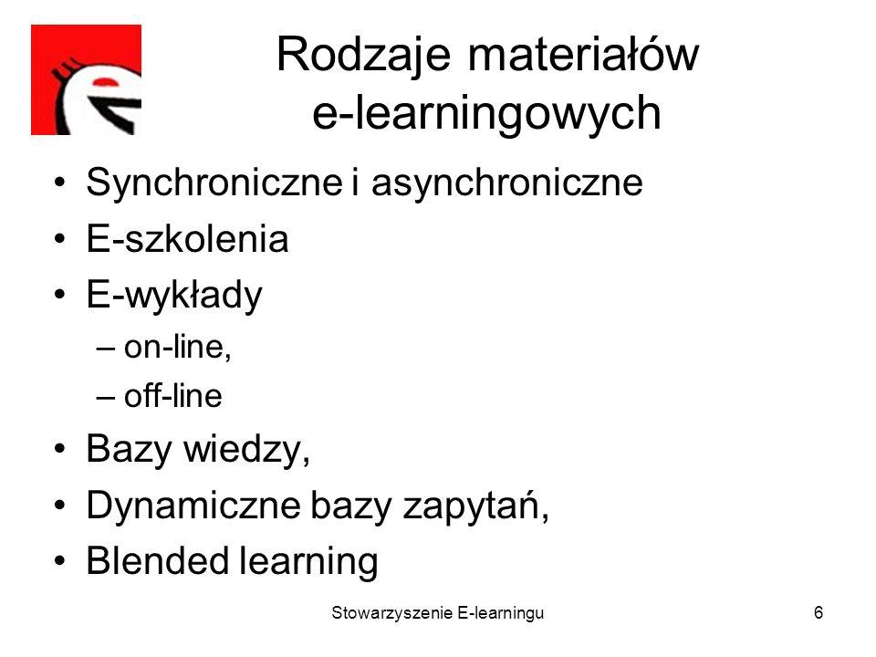 Stowarzyszenie E-learningu6 Rodzaje materiałów e-learningowych Synchroniczne i asynchroniczne E-szkolenia E-wykłady –on-line, –off-line Bazy wiedzy, D
