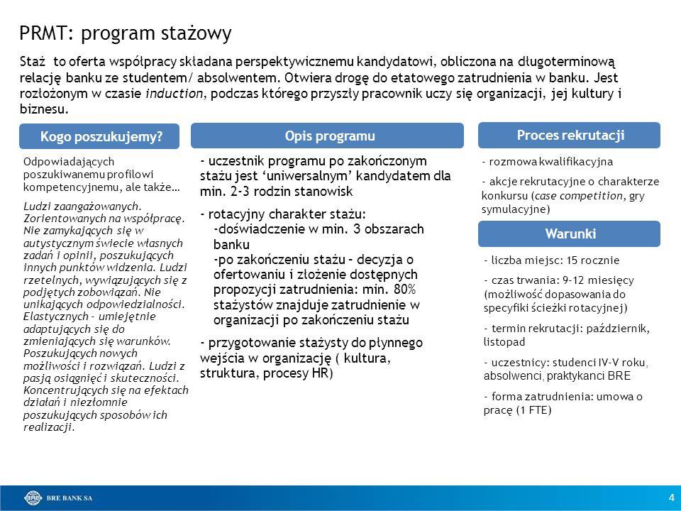 PRMT: program stażowy - uczestnik programu po zakończonym stażu jest uniwersalnym kandydatem dla min. 2-3 rodzin stanowisk - rotacyjny charakter stażu
