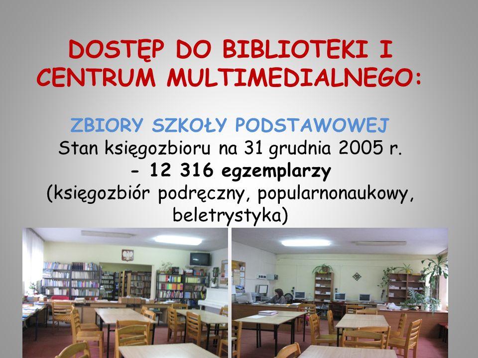 DOSTĘP DO BIBLIOTEKI I CENTRUM MULTIMEDIALNEGO: ZBIORY SZKOŁY PODSTAWOWEJ Stan księgozbioru na 31 grudnia 2005 r. - 12 316 egzemplarzy (księgozbiór po