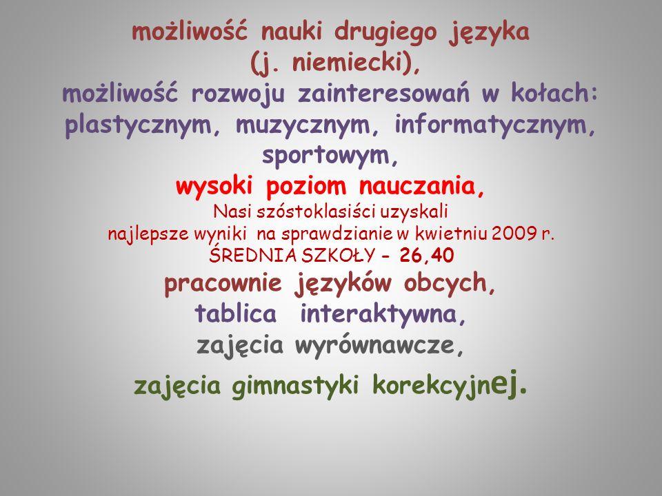 możliwość nauki drugiego języka (j. niemiecki), możliwość rozwoju zainteresowań w kołach: plastycznym, muzycznym, informatycznym, sportowym, wysoki po
