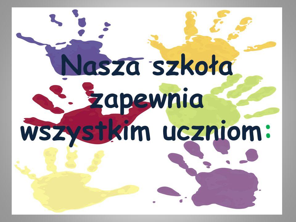 Nasza szkoła zapewnia wszystkim uczniom: fachową kadrę nauczycielską, osobną świetlicę dla uczniów klas 0-III w godz. 7.00-16.30, opiekę pedagoga,peda