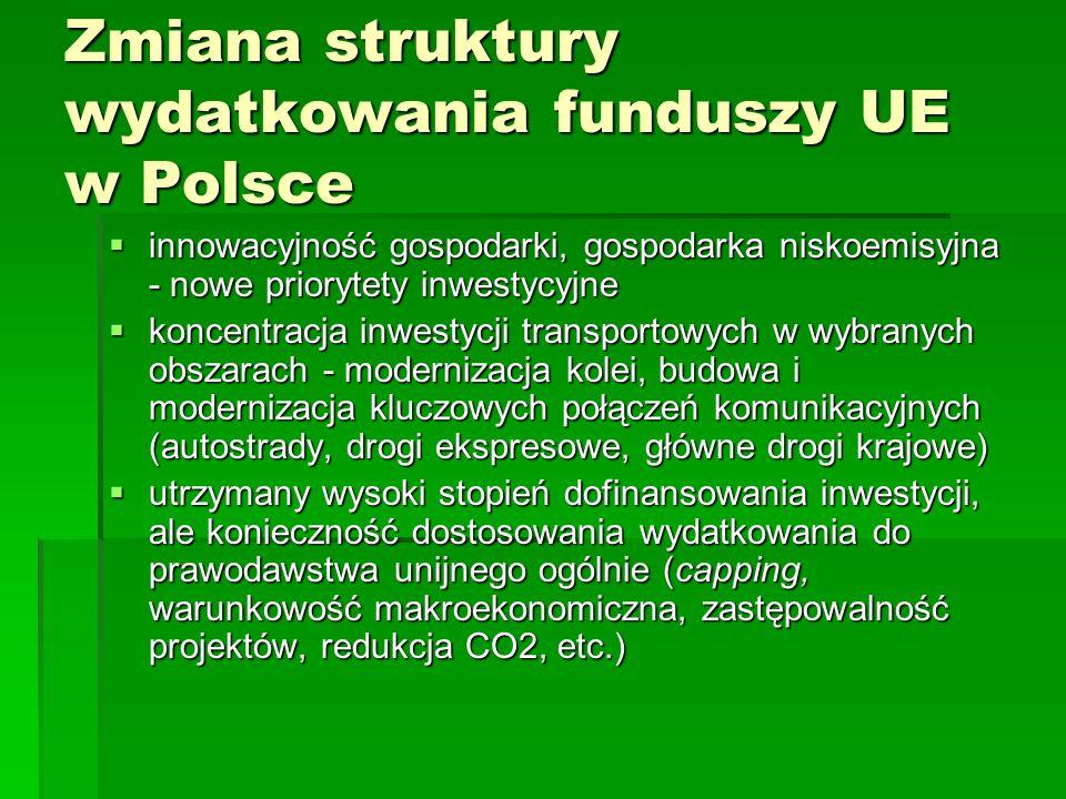 Zmiana struktury wydatkowania funduszy UE w Polsce innowacyjność gospodarki, gospodarka niskoemisyjna - nowe priorytety inwestycyjne innowacyjność gos