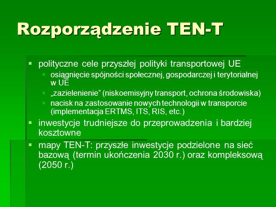 Rozporządzenie TEN-T polityczne cele przyszłej polityki transportowej UE osiągnięcie spójności społecznej, gospodarczej i terytorialnej w UE zazieleni
