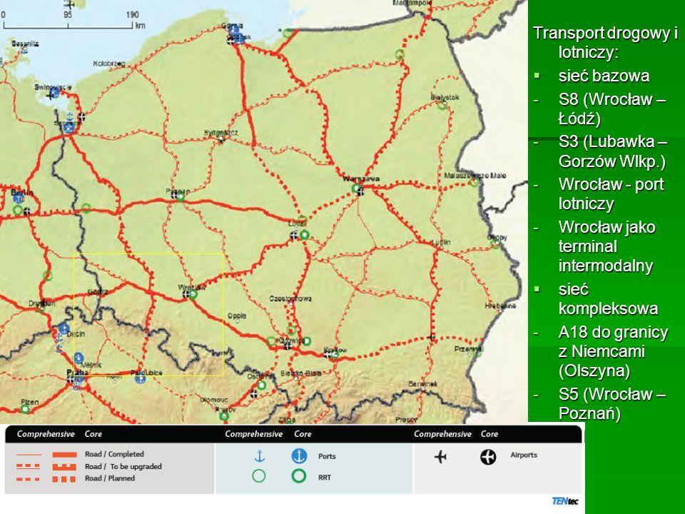 Transport drogowy i lotniczy: sieć bazowa sieć bazowa -S8 (Wrocław – Łódź) -S3 (Lubawka – Gorzów Wlkp.) -Wrocław - port lotniczy -Wrocław jako termina