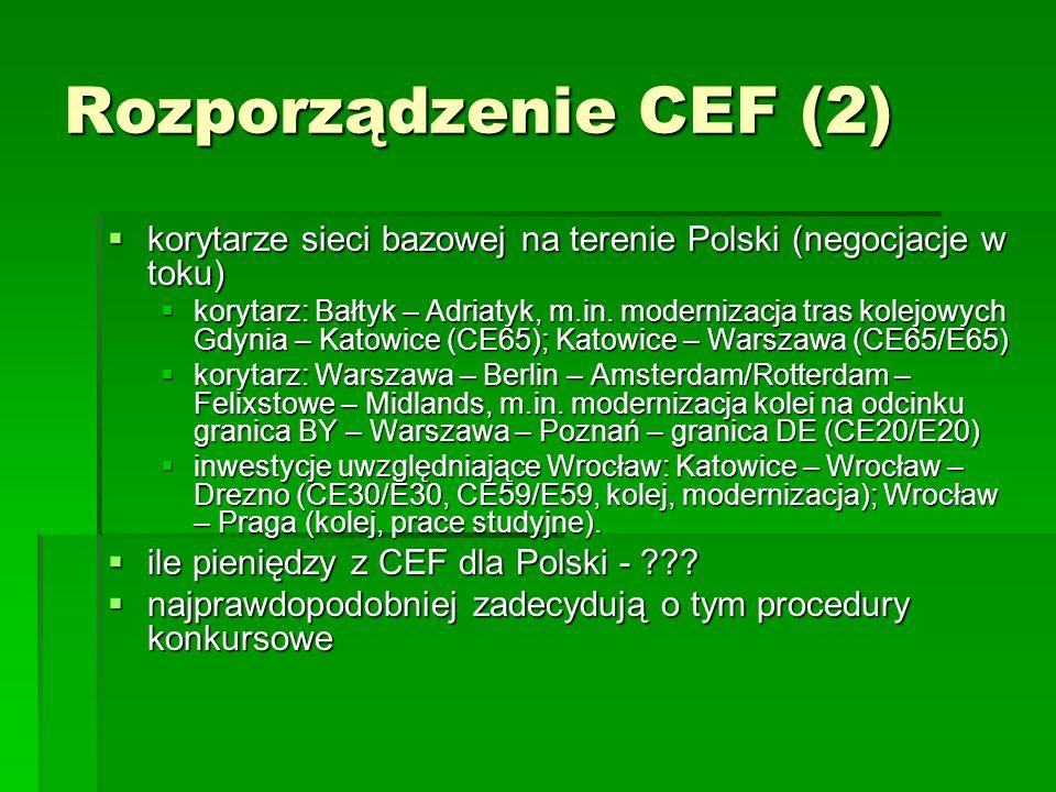Finansowanie polityki transportowej spoza CEF fundusze UE fundusze UE głównie fundusz spójności poprzez program operacyjny infrastruktura i środowisko (POIiŚ) głównie fundusz spójności poprzez program operacyjny infrastruktura i środowisko (POIiŚ) w dużo mniejszym stopniu europejski fundusz rozwoju regionalnego, regionalne programy operacyjne, program rozwoju Polski wschodniej w dużo mniejszym stopniu europejski fundusz rozwoju regionalnego, regionalne programy operacyjne, program rozwoju Polski wschodniej